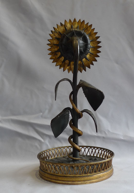 French Empire patinated bronze and ormolu Sunflower clock