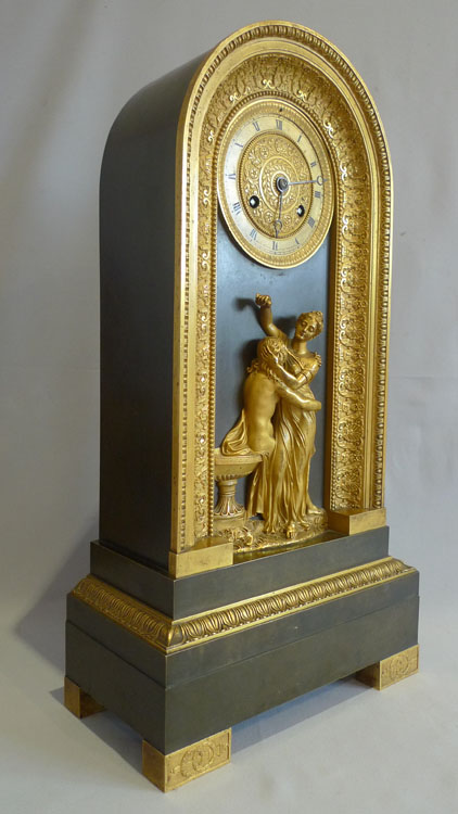Antique Charles x period French patinated bronze and ormolu clock celebrating Hero and Leander.
