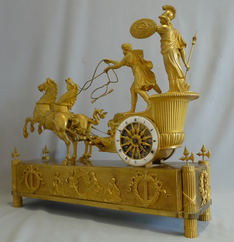 French Empire antique mantel clock of Minerva riding the chariot of Diomedes.