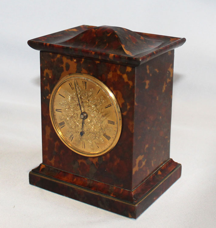 English late Regency antique miniature fusee carriage clock in tortoiseshell veneered case.