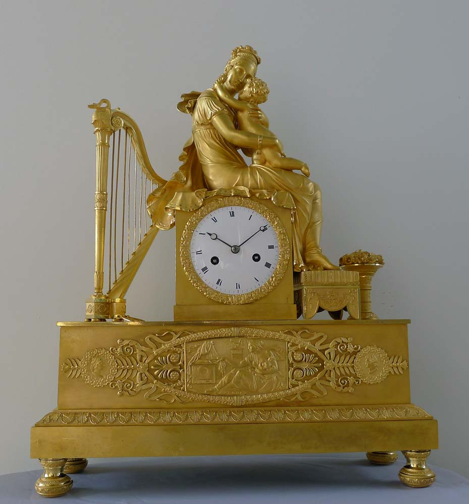 Antique French Empire ormolu clock of Empress Marie Louise and