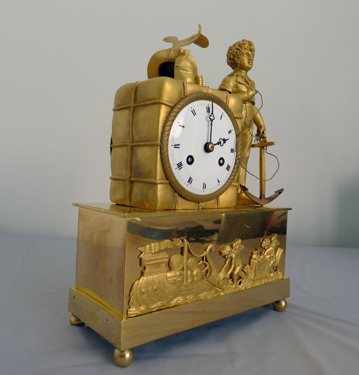 Rare early  French Empire ormolu mantel clock from the Hope and Blackamoor pendule au Negre series.