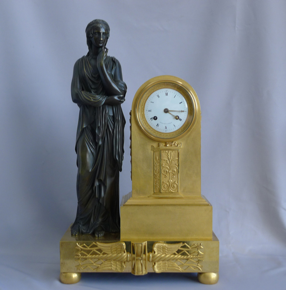 Antique French Empire Ormolu and patinated bronze Mantel clock signed Vaillaint a Paris