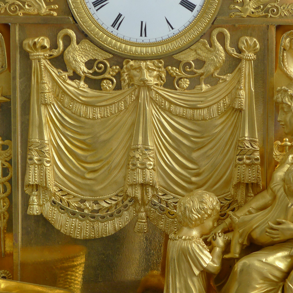 Antique  French Empire clock called 'Evening prayer' designed by Jean-Andre Reiche.