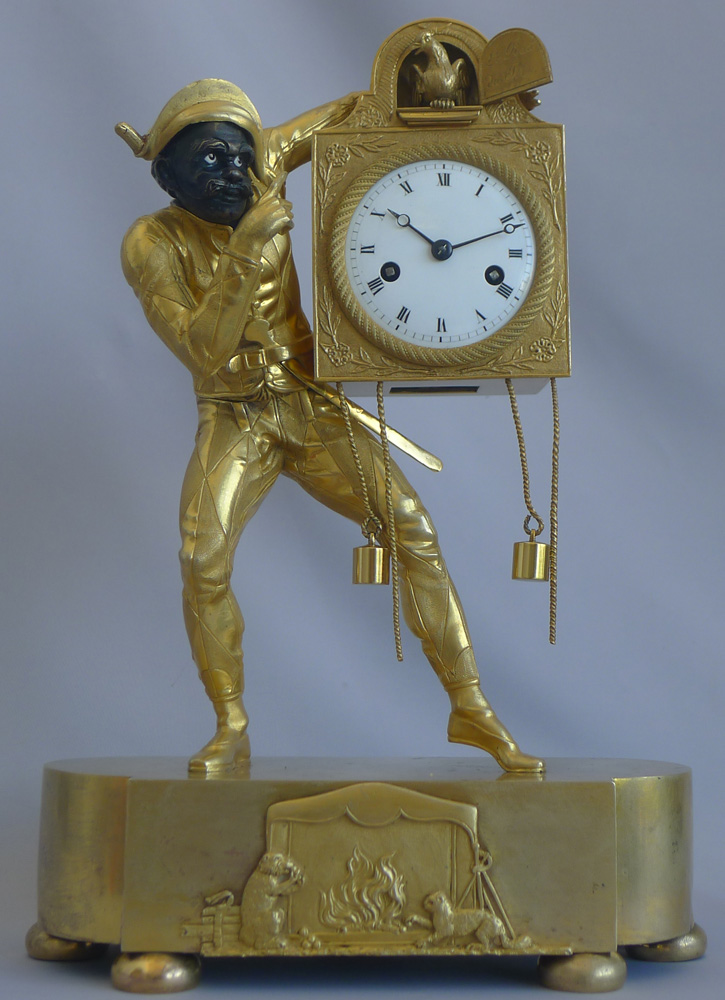 Stunning Antique French Restoration or Charles X ormolu Harlequin clock