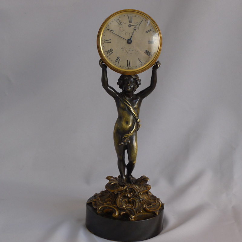 Antique George III patinated bronze and ormolu figural mantel clock signed W. Glover.