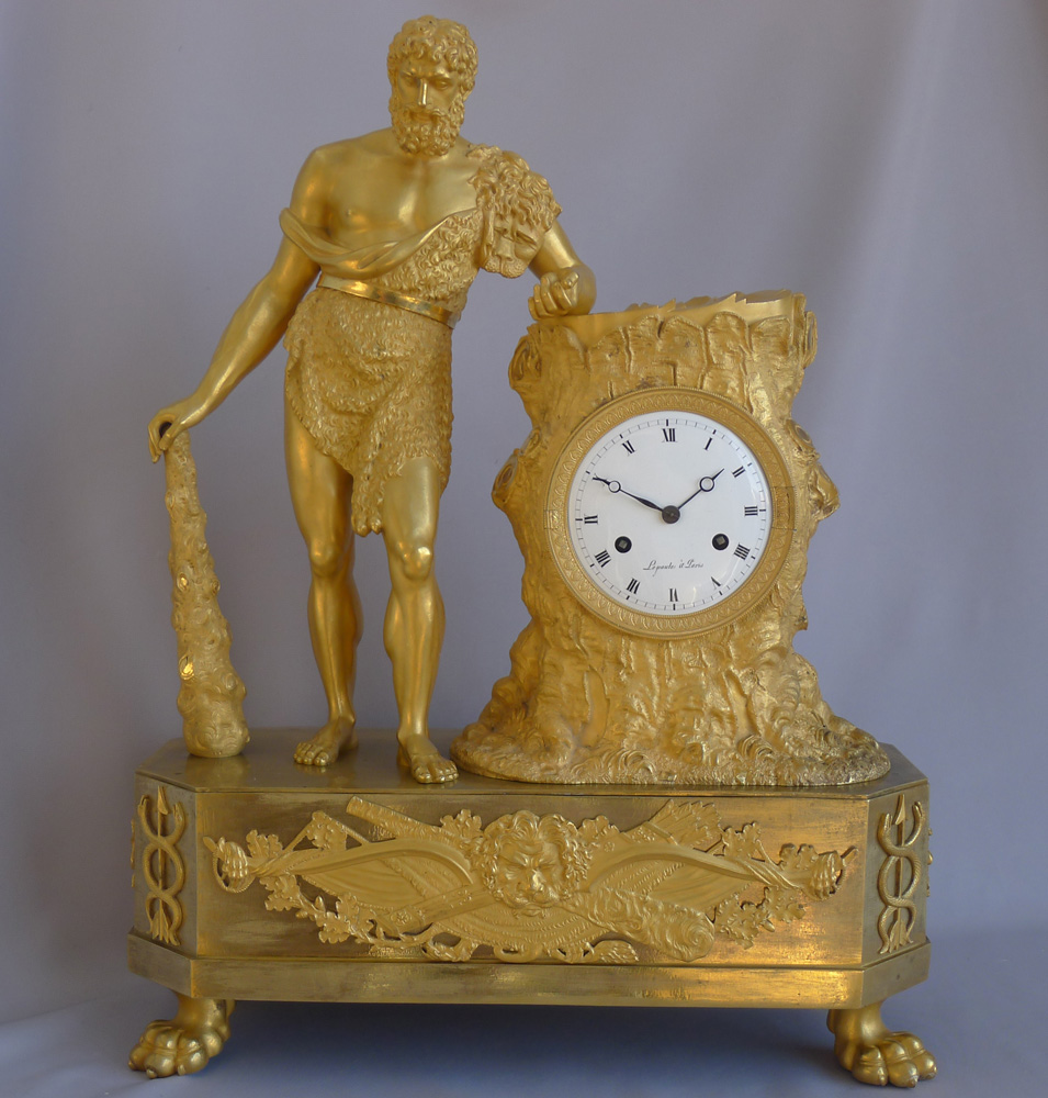 Antique French Empire Mantel clock of Hercules signed Lepaute
