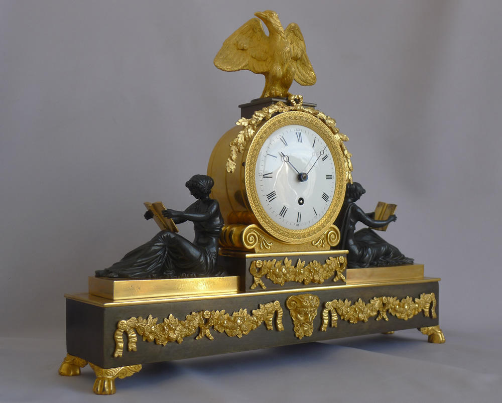 Antique English Regency neo-classical library clock