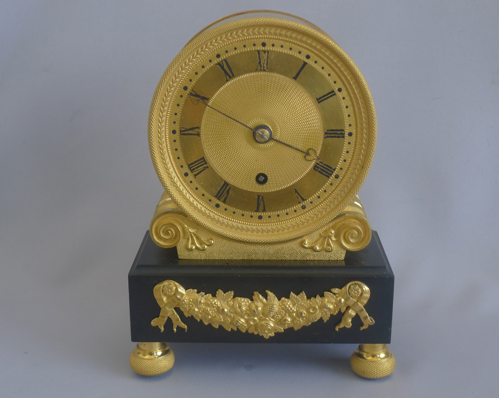 Antique English Regency fusee mantel clock, by Viner in Ormolu and Derbyshire black marble