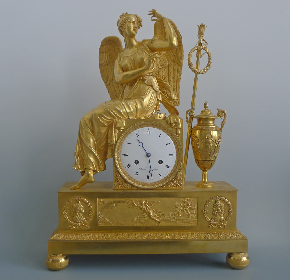 Antique French Empire Ormolu  Mantel Clock of the Goddess Iris