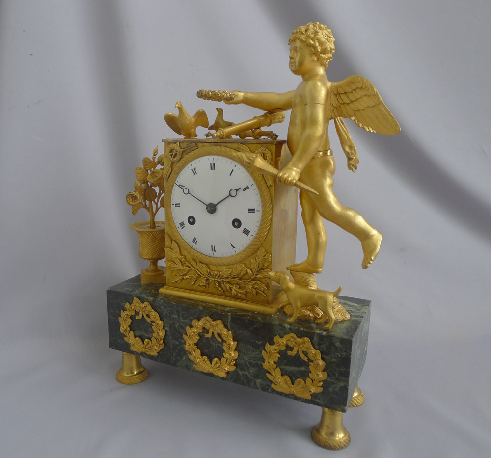 Antique French Empire Ormolu and Marble Mantel Clock of Cupid and his Dog