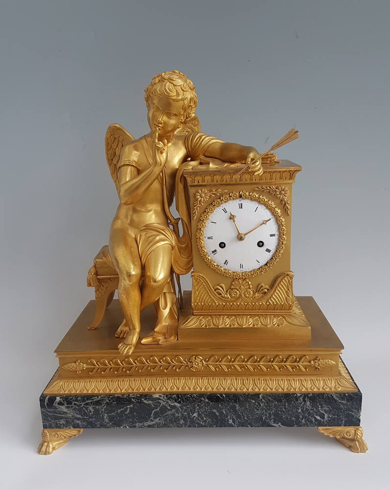 Antique French Empire Ormolu and Marble Mantel clock of Cupid