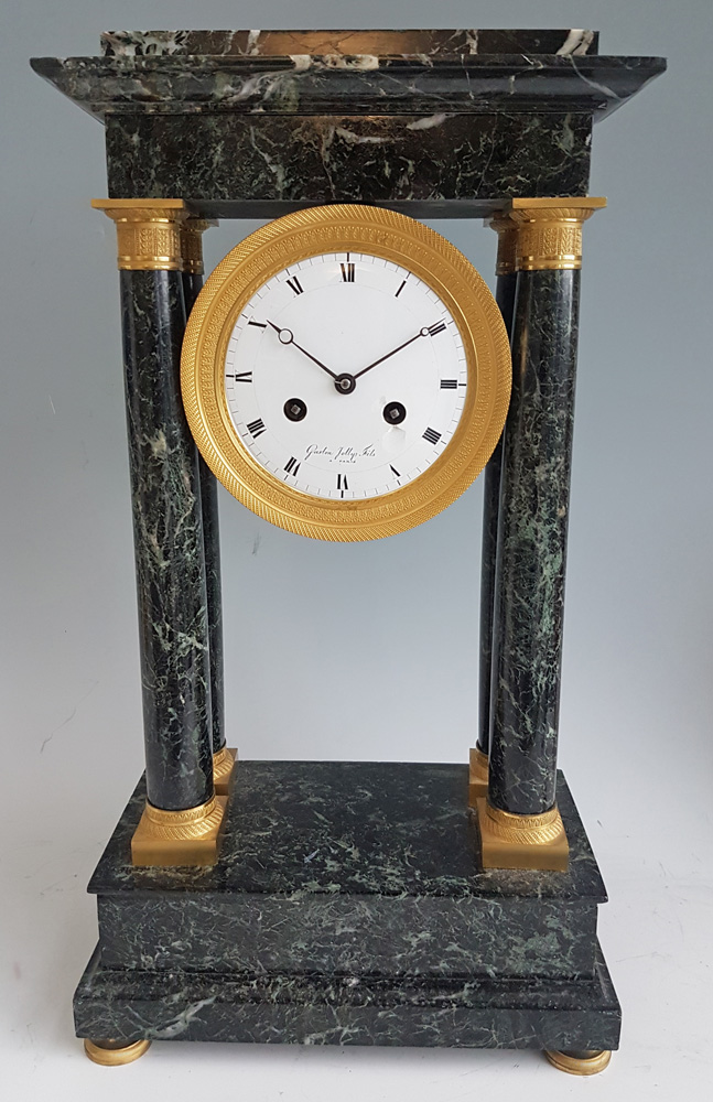 Antique French Empire Ormolu and Marble Portico clock signed Gaston Jolly