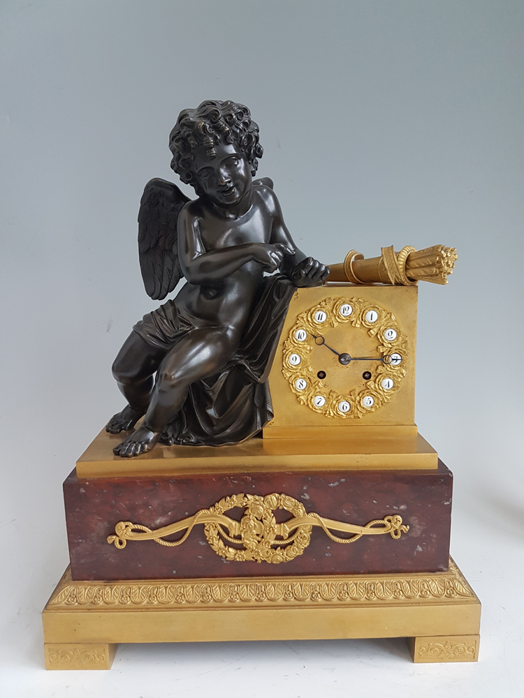 French Louis Phillipe Ormolu, Marble and Patinated bronze Mantel Clock