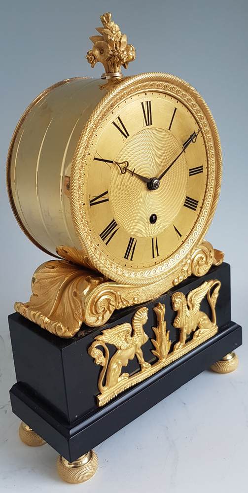 English Regency Fusee mantel Clock in ormolu and Derbyshire black marble signed French Royal Exchang