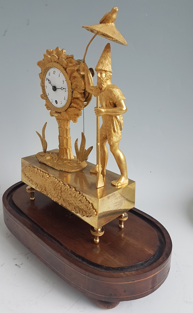 Antique French Empire Ormolu Miniature Robinson Crusoe Mantel Clock