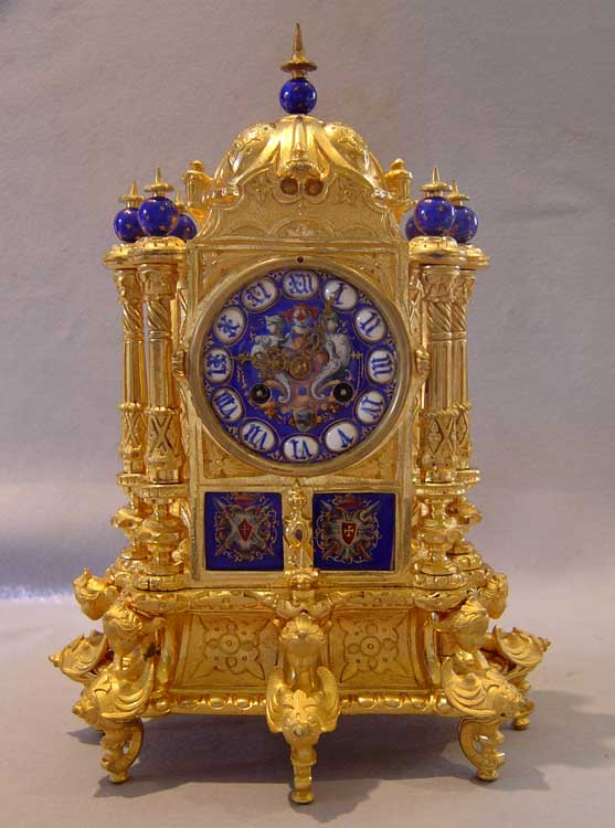 Antique French ormolu & enamel mantel clock