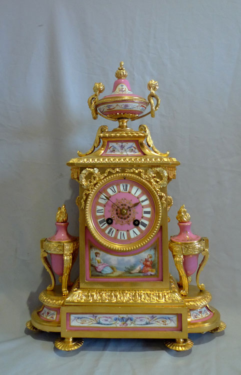 French antique mantel clock in ormolu and pink porcelain. - Gavin Douglas Antiques