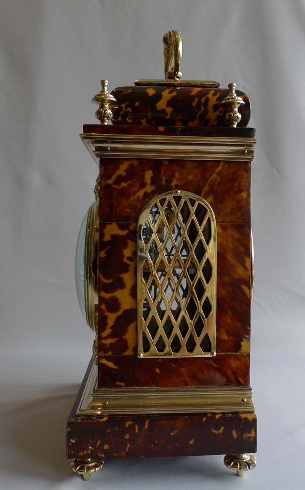 Antique tortoiseshell and gilt bronze bracket clock, English in the Queen Anne style.