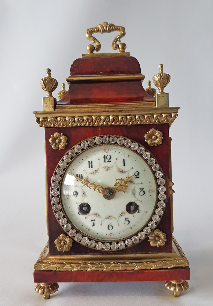 Antique miniature red tortoiseshell and bronze paste set mantel clock in early 18th century style