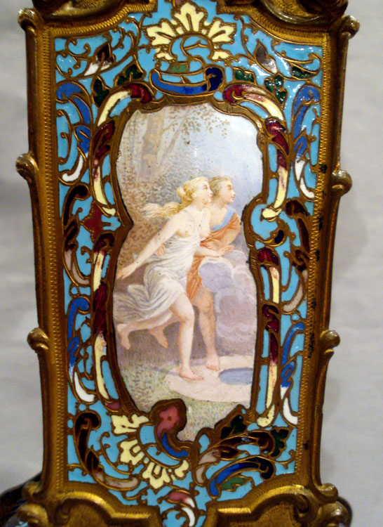 Antique cloissonee enamel and gilt bronze French mantle clock with fine enamel painted scene.
