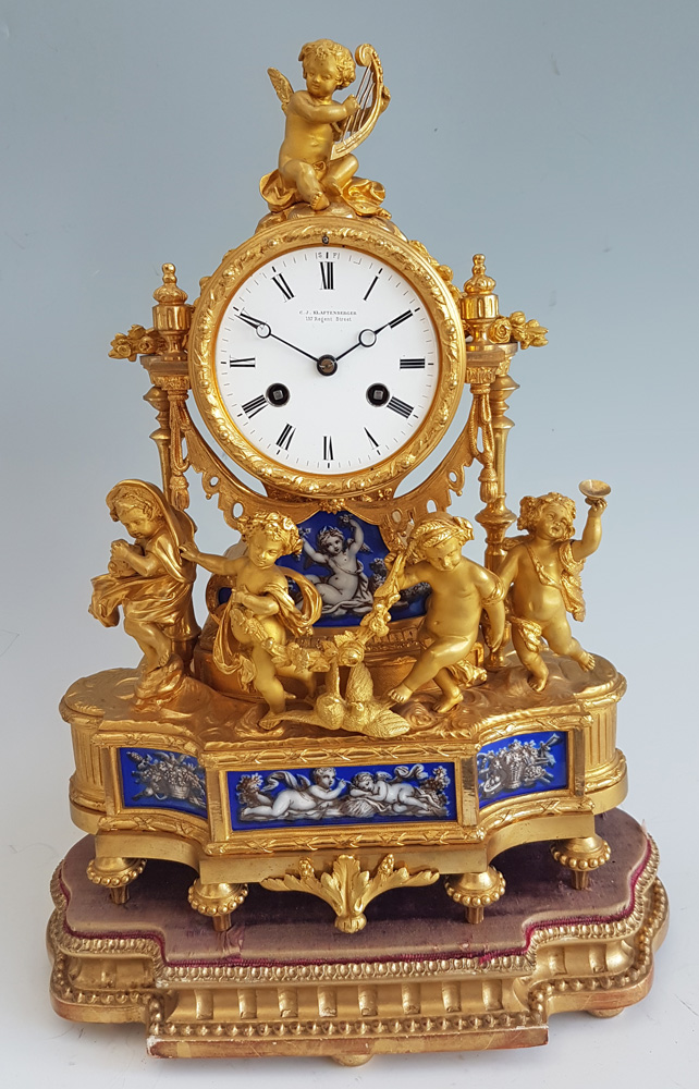 Antique French  Ormolu and Blue Porcelain Four Seasions mantel clock