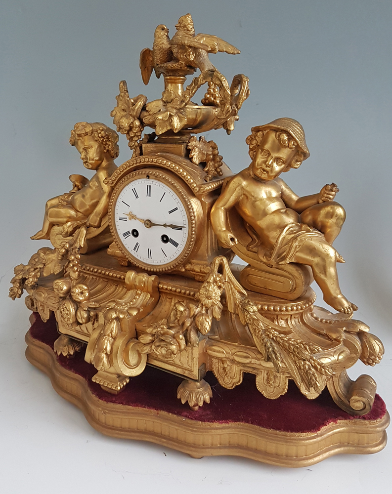 Antique French Gilt Bronze Mantel Clock with Two Doves