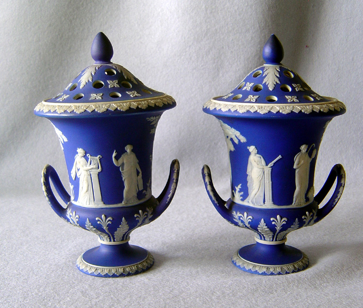 Pair antique English Wedgwood blue and white potpourri vases and covers.