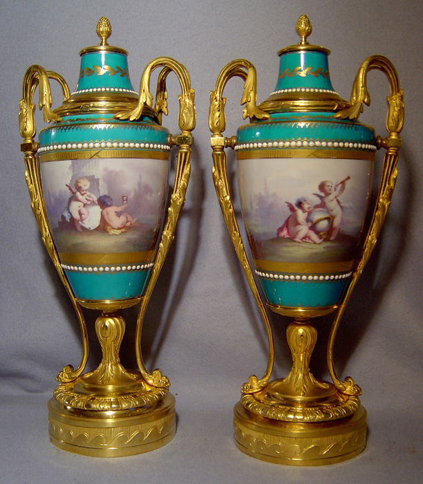 Pair of antique French ormolu mounted Paris porcelain vases in bleu celeste.