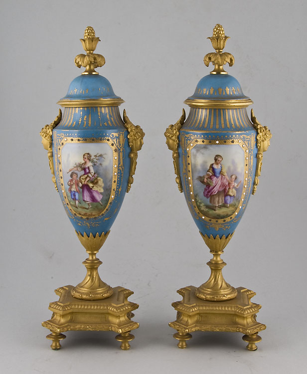 Pair ormolu mounted Paris vases in Sevres style.