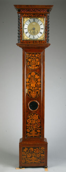 Fine 11 inch dial month going bird & flower panel marquetry longcase clock by Jonathon Lowndes