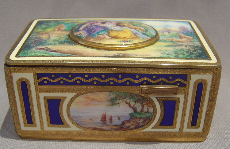 German enamel and gilt bronze singing bird box.
