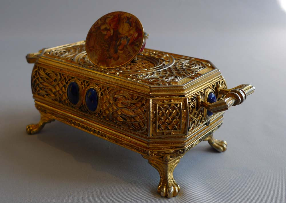 Singing bird box automaton in gilt bronze, jewelled case with miniature to lid.
