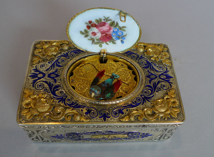 Singing bird automaton Rochat, fusee movement, silver gilt and enamel number 258.
