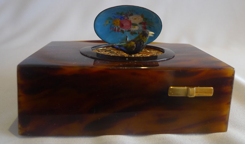 Antique singing bird box , tortoiseshell and enamel by Bontems.