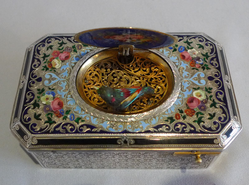 Antique fusee singing bird box by Charles Bruguier No. 138, silver, silver gilt and enamel.