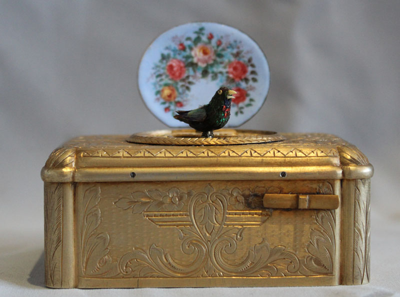 Antique singing bird box silver gilt and enamel by Bontems of Paris.