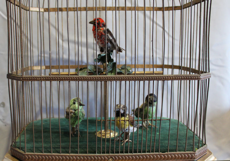 Antique and rare singing bird cage with four working and singing automaton birds by Bontems of Paris
