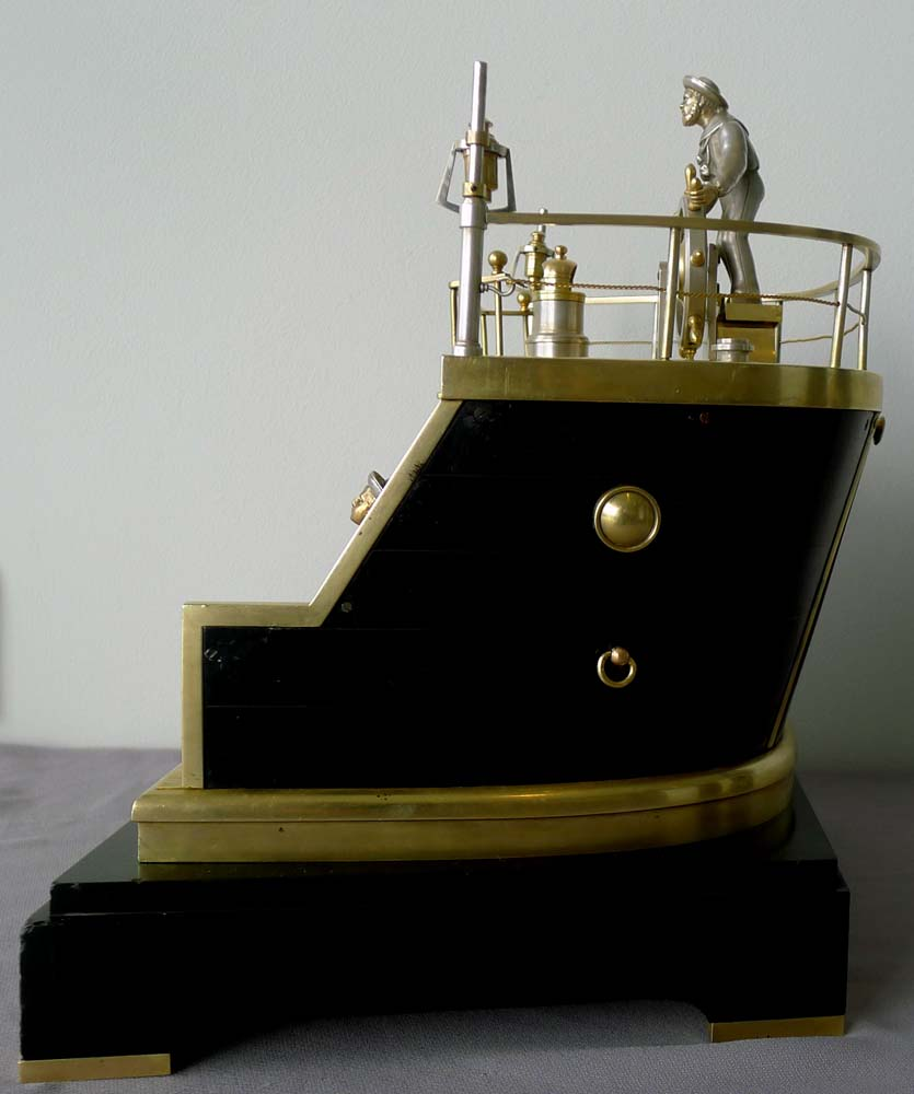 Antique Automaton Industrial clock of Helmsman on quarterdeck by