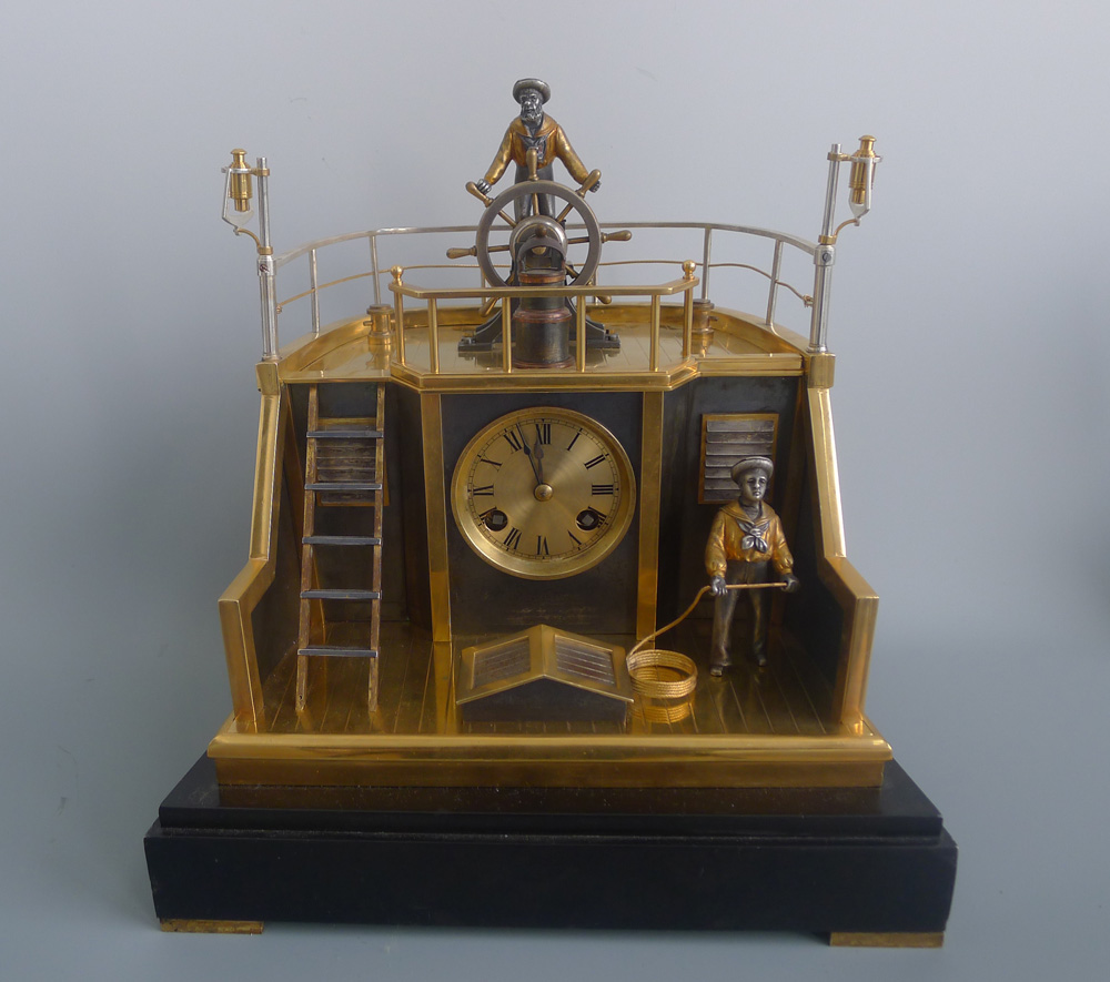Antique Automaton Industrial series Quarterdeck Helmsman mantel clock by Guilmet