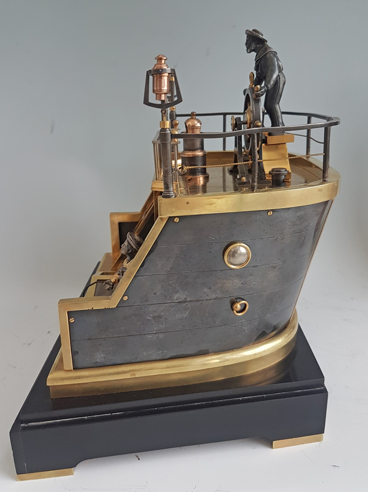 Antique Automaton Industrial series Quarterdeck, Helmsman mantel clock by Guilmet