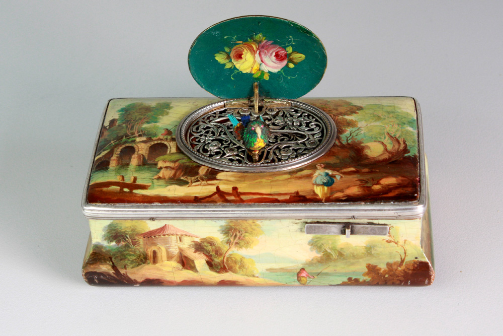 Antique Silver and finely painted sarcophagus-form wooden singing bird box, by E. Flajoulet