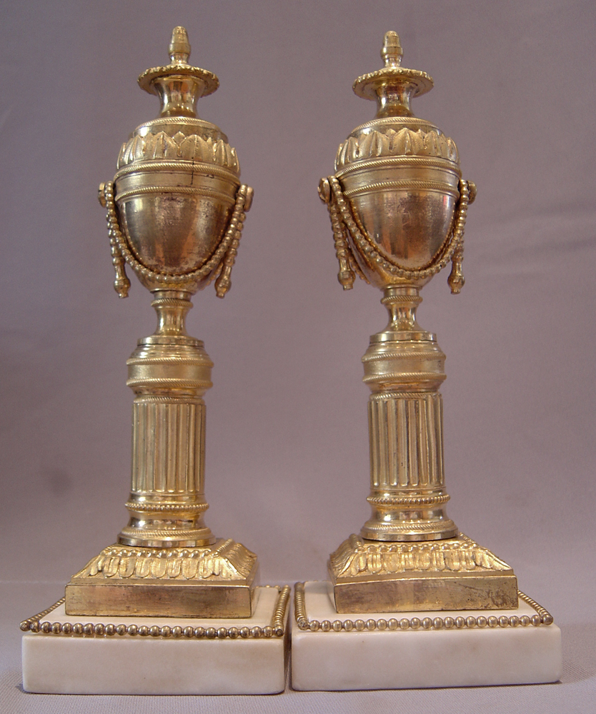 English antique ormolu cassolettes, late 18th early 19th century.