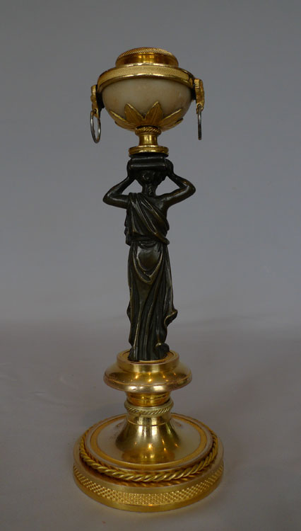 English Regency or George III neo classical candlestick in ormolu, marble and patinated bronze