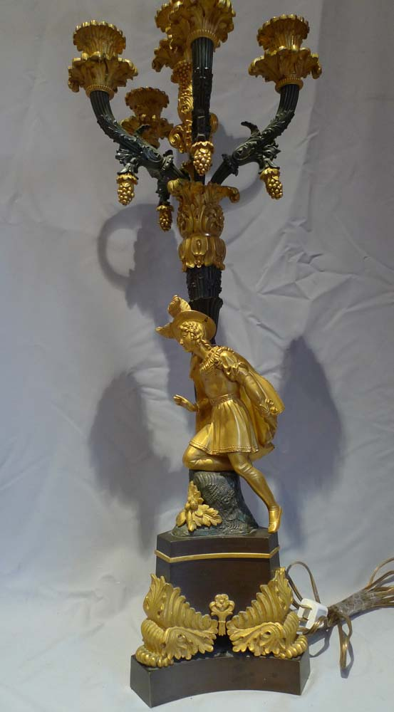 Pair large antique candelabra, figural from Charles X French period in ormolu and patinated bronze.