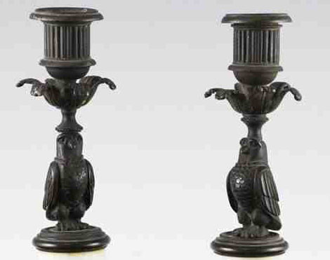 Antique English pair of patinated bronze and statuary marble candlesticks of Owls.