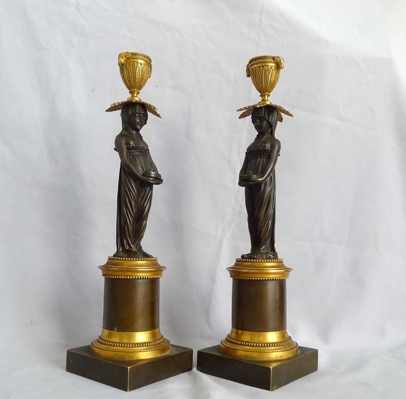 Antique English Regency ormolu and patinated bronze figural candlesticks