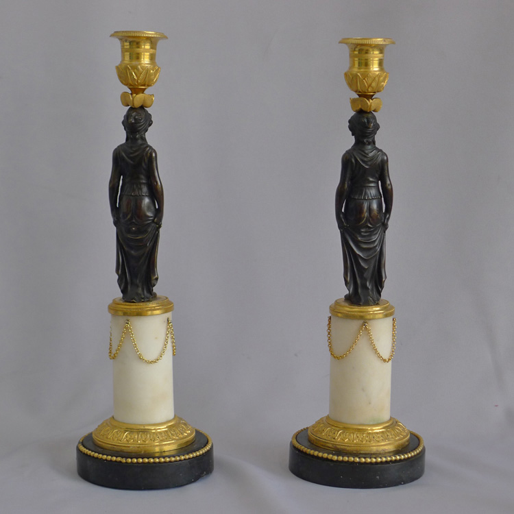 Antique Pair of English Regency figural candlesticks in Ormolu, patinated bronze and marble