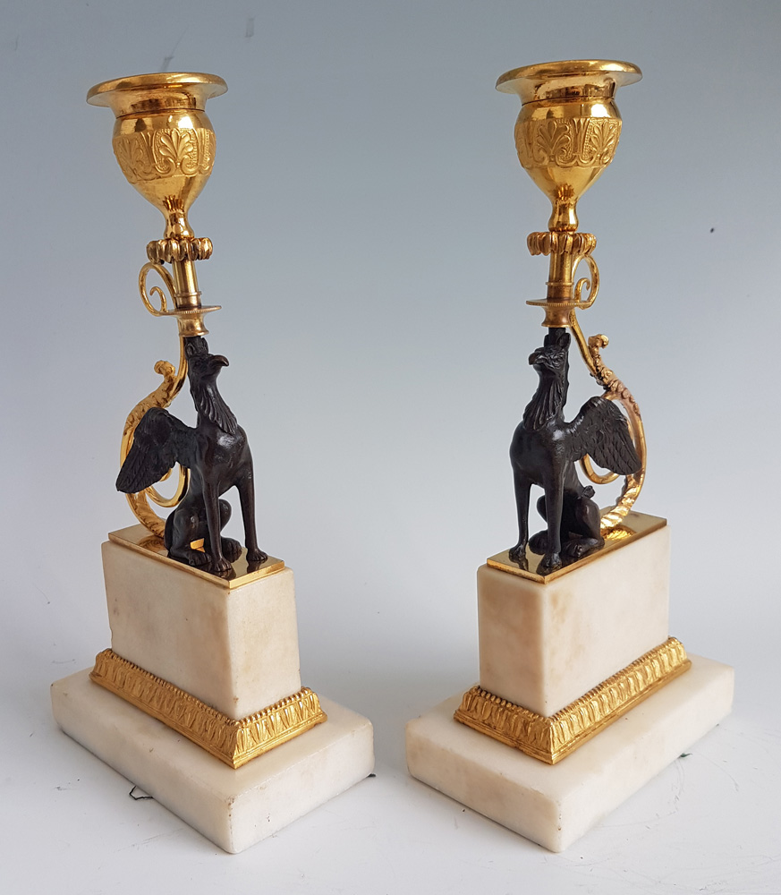 Antique pair of George III Ormolu and marble Chambers pattern Griffin Candlesticks
