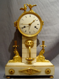 Antique French Late 18th C Directoire white marble & ormolu mantel Clock.